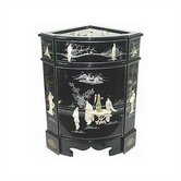 Chinese Eight Ladies Black Corner Cabinet