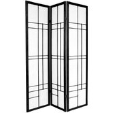 72&quot; Eudes Decorative Paned Room Divider in Black