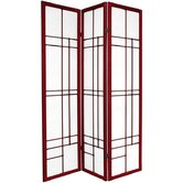 "72"" Eudes Decorative Paned Room Divider in Rosewood"
