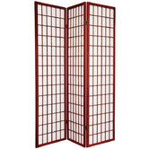 Double Sided Window Pane Room Divider in Rosewood