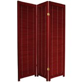Wooden Shutter Room Divider in Rosewood