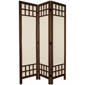 6 Feet Tall Window Pane Fabric Room Divider in Burnt Brown