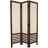 6 Feet Tall Open Lattice Fabric Room Divider in Burnt Brown