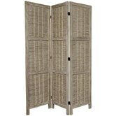 6 Feet Tall Bamboo Matchstick Woven Room Divider in Burnt Grey