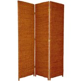 Rush Grass Woven Room Divider in Honey