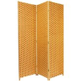 Woven Fiber 3 Panel Room Divider in Natural and Reddish Brown