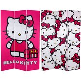 Tall Double Sided Hello Kitty Pink Canvas Room Divider