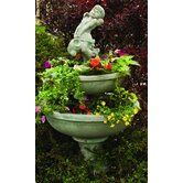 Cast Stone 3 Piece Blooming Saucer Tiered Fountain