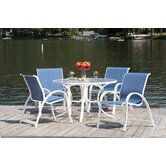 Quick Ship Aruba II Sling Glass 5 Piece Dining Set