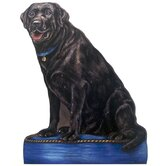 Black Lab Wooden Decorative Dog Doorstop