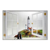 Faux Window Mirror Screen with Pigeon Pointe Lighthouse