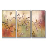 Pink Blossoms and Butterflies Triptych Wall Art