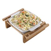 "Bamboo and Stoneware Grand Buffet 9"" Bakeware Dish with Bamboo Cradles"