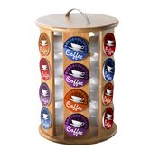 Bamboo Revolving Carousel Single Serve Coffee Pod Holder