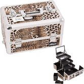 Leopard Pattern Interchangeable Professional Cosmetic Makeup Train Case
