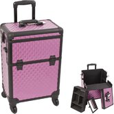 Diamond Pattern Interchangeable Professional Rolling Cosmetic Makeup Train Case
