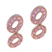 Oval Link Bubble Rose Gold Pink Sapphire Earrings