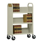 31&quot; W Single Sided Sloped-Shelf Mobile Book Truck
