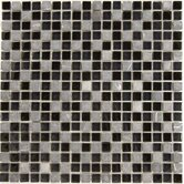 "Dancez Fandango 5/8"" x 5/8"" Stone and Glass Blend Mosaic in Black"