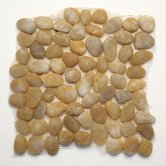 Decorative Pebbles 12&quot; x 12&quot; Interlocking Mesh Tile in Honed Turkish Amber