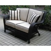Ebony and Ivory Wicker Loveseat with Cushions