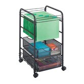 Onyx Mesh File Cart with Drawers