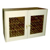 2 Door Oak Wine Cooler Credenza with Rectangular Glass Doors