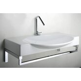Swing 85 Above Counter or Wall Mount Bathroom Sink with Optional Towel Rod