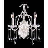 Opulence  Candle Wall Sconce in Antique White and Clear Crystal