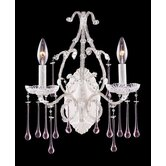 Opulence  Candle Wall Sconce in Antique White and Rose Crystal
