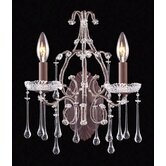Opulence  Candle Wall Sconce in Rust and Clear Crystal