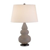 Small Triple Gourd Accent Lamp in Smokey Taupe with Bronze Base