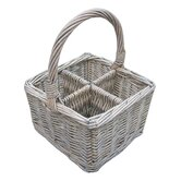 Willow Cutlery and Glass Basket in White