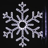 "36"" Pole Decoration Six Point Snowflake in Pure White"