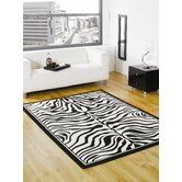 Wildlife Zebra Black / White Novelty Rug