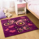 Kiddy Play Butterfly Purple Kids Square Rug