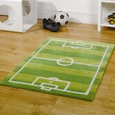 Kiddy Play Football Pitch Green Kids Rug