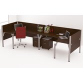 Pro-Biz Double Back-to-Back L-Desk Workstation With 2 Melamine Privacy Panels