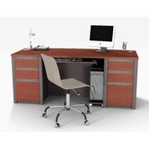 Connexion Contemporary Executive Desk Kit with Assembled Pedestals