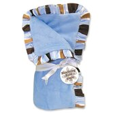 Max Velour Baby Blanket in Blue with Striped Trim