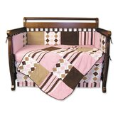 Prep School Pink 4 Piece Crib Bedding Set & FREE  Picture Frame Set