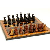 Alabaster Wood Frame Chess Set in Black / Brown