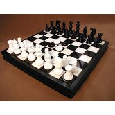 Alabaster Chest Chess Set in Black / White