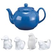 32 Oz. English Style Teapot in Blue with Animal Creamer