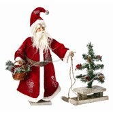 Santa with Tree on Sled Figurine