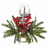 Holly and Pinecone Votive Candle Holder on Pedestal