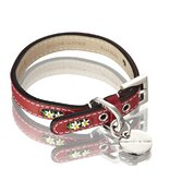 Edelweiss Handmade Leather Dog with Swiss Edelweiss inserts in Swiss Red with White Flowers