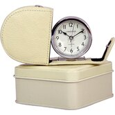 Fold Away Alarm with Genuine Leather Cream Case