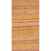 Kilim Brown / Gold Striped Rug