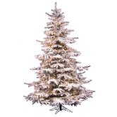 Flocked Sierra Fir 7.5' Artificial Christmas Tree with Clear Lights